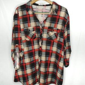 Eden & Olivia 3X Plaid Top Flannel Roll Tab Red